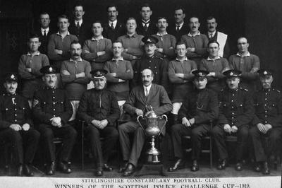 """P15479; """"Stirlingshire Constabulary Football Club.  Winners of the Scottish Police Challenge Cup 1919"""""""