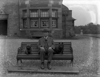 P56684; George Pate outside Carron Grange House, Stenhousemuir
