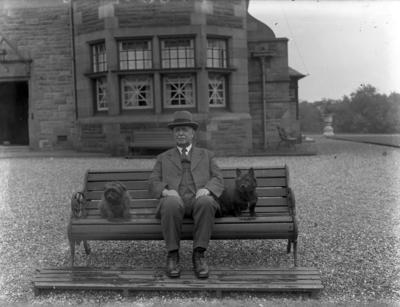 P56686; George Pate outside Carron Grange House, Stenhousemuir
