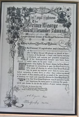 P42813; Greeting given by the Burgh of Falkirk to Prince George