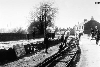 P00757; Tramway being laid at Carron Road, Falkirk