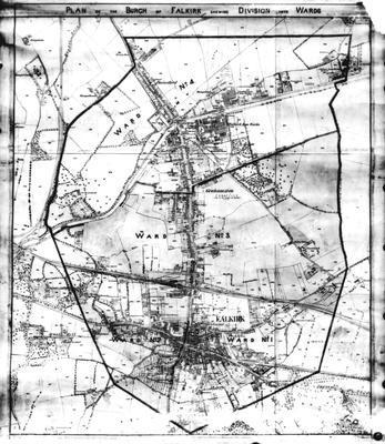 P32932; Photograph of a map of Falkirk