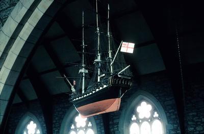 P10268; Model of a ship, Bo'ness Old Parish Church