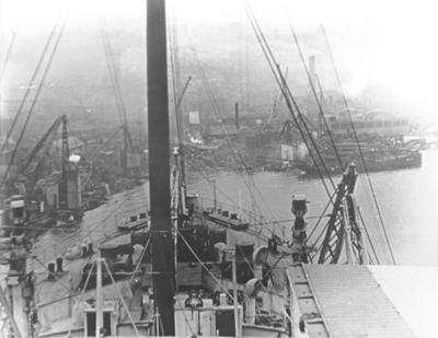 P01961; View of shipbreaking yard from ship entering yard