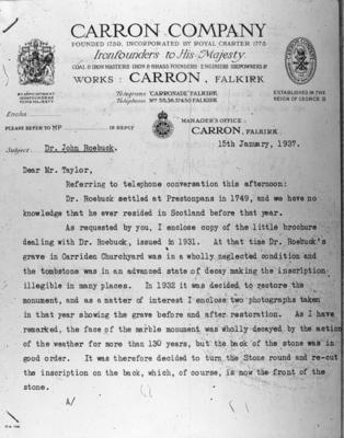 P03820; Letter, Carron Co to R Taylor, WS, Hope St, Falkirk concerning restoration of Roebuck's tomb