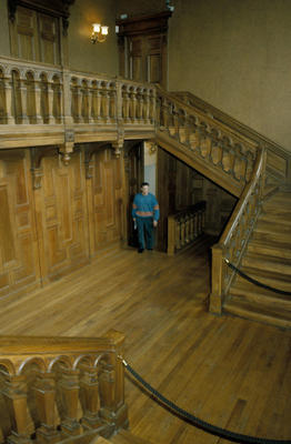 P20603; Callendar House after renovations - main staircase