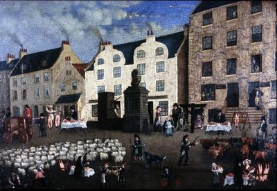 P25213; Copy of painting 'Falkirk On Tryst Night' by James Grossart