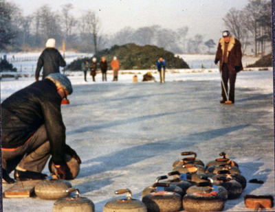 P27577; Curling at Larbert House Pond.