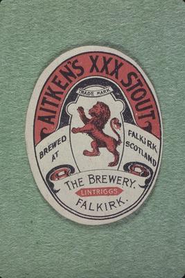 P06011; Label - 'Aitken's Stout', from Aitken's Brewery, Newmarket St, Falkirk