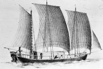 P07476; Edinburgh, Patrick Miller's 3 hulled boat.  Sketch showing boat with sails unfurled