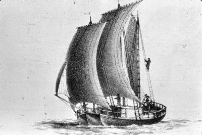 P07477; Edinburgh, Patrick Miller's 3 hulled boat.  Sketch showing boat with sails unfurled