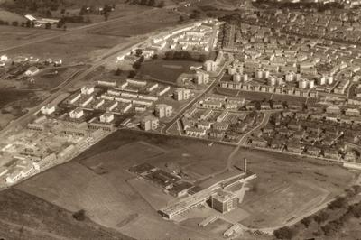 P08752; Aerial view of Denny High School