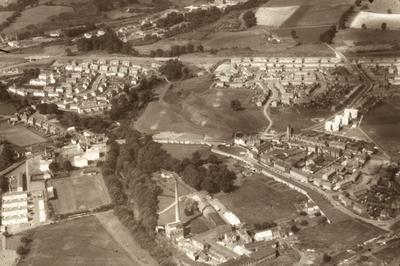 P08754; Vale Mill site and aerial view of Denny