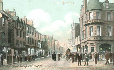 P33920; High Street, looking West, Falkirk.