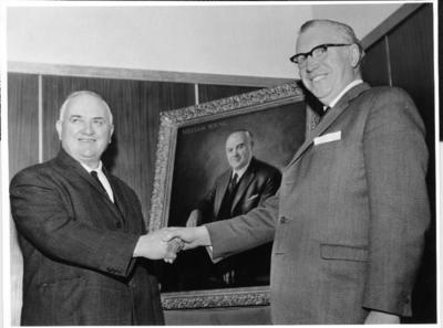 P35338; William Young being presented with his portrait.