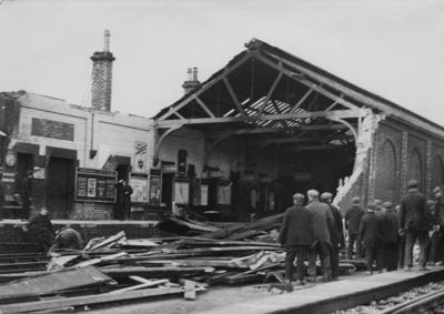 """P38095; """"Grangemouth Station blown down in gale"""""""