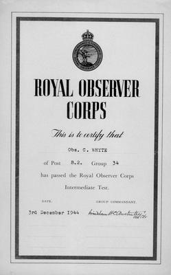 P28156; Royal Observer Corps Intermediate Test Certificate issued to Obs[erver] C Whyte.
