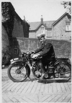 P36298; George Dalgleish on his motorcycle