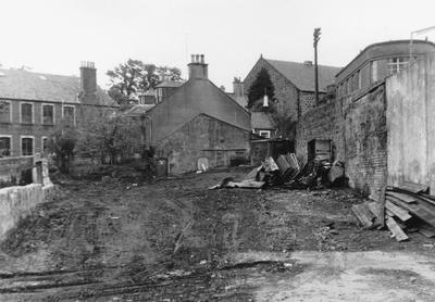 """P27302; """"Top level of Barr's old works site.  Burnfoot Cottage in centre"""""""