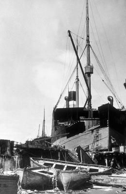 """P02046; Ship """"City of Edinburgh"""" in shipbreaking yard"""