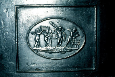 P20582; Decorative panel from hot plate in Callendar House kitchen