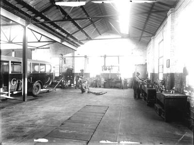 P32704; Interior of Bus Depot with Scottish General bus.
