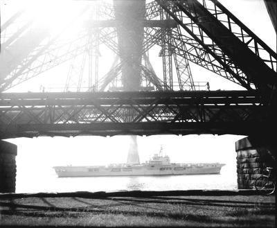 P32775; Aircraft Carrier under the Forth Bridge