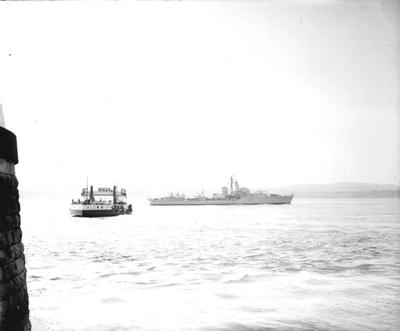 P32779; Destroyer and Ferry on River Forth