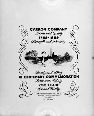 P19128; Carron Bi-centenary commemoration label