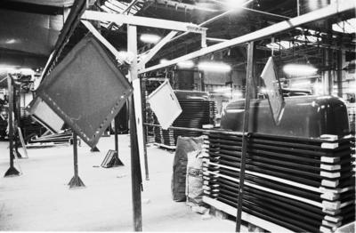 P31588; Ironfounding products hanging on drying/production line