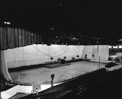 P32186; Empty stage at Falkirk Ice Rink?