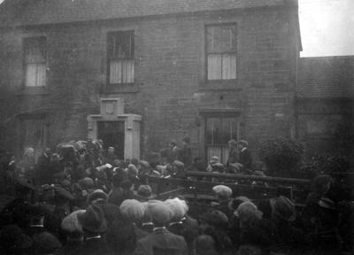 P43576; Capt James Fitz Morris's coffin leaving Rosehall, Polmont