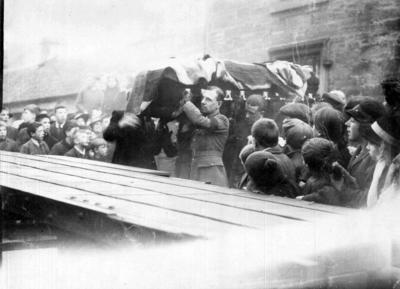 P43578; Coffin of Capt James Fitz Morris outside Rosehall, Polmont