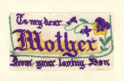 A1890.004; Embroidered Greetings Card