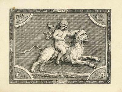 A2265.006; Printed design, cherub riding animal