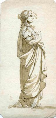 A2265.014; Ink drawing of woman in Graeco/Roman dress