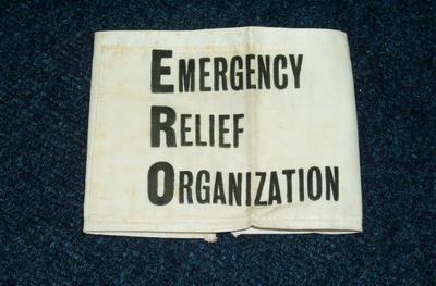 "2009-025-001; armband; ""Emergency Relief Organisation"""