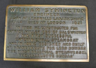 """1976-026-008/003; plaque; commemorative """"Symington"""""""