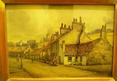 """1979-008-001; painting; """"Main St, Grangepans"""""""