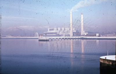 """P02158; """"Kincardine Power Station from south side of bridge"""""""