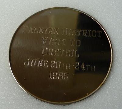 "1998-033-002; medal; commemorative ""Creteil Twinning"""
