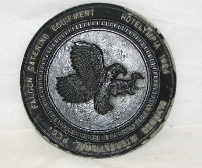 """2000-036-001; plaque; """"Falcon Catering Equipment"""""""