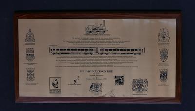 2003-020-001; plaque; railway anniversary