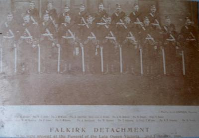 """P45591; """"Falkirk Detachment who were present at the Funeral of the Late Queen Victoria"""""""