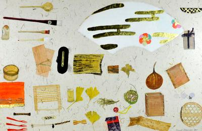 """2005-016-001; painting: """"Still life with bamboo and fan"""""""