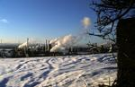 Grangemouth chemical complex in snow, viewed from Inveravon
