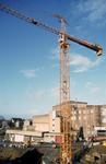 Crane during construction of Howgate Shopping Centre