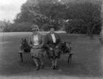Two women in grounds of Carron Grange House