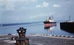 Ship approaching the old lock, Grangemouth Docks