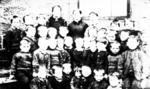 Teacher and children, Carriden School, Bridgeness Road, Carriden, Bo'ness area.
